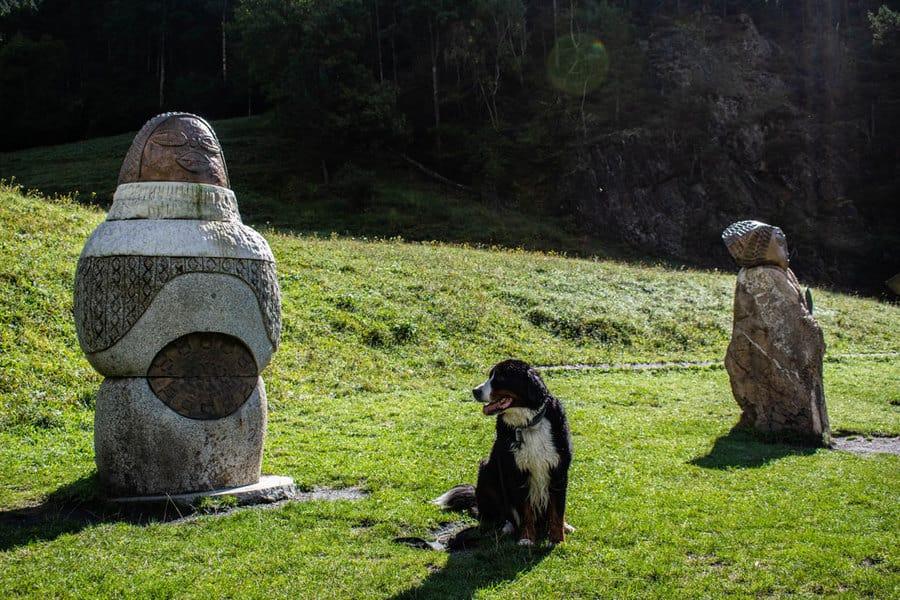 Perro y esculturas de la ruta del ferro