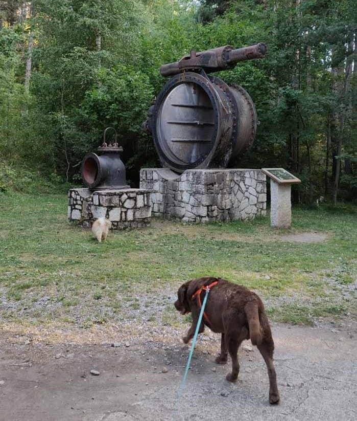 Compuerta de agua de la turbina del lago de engolasters expuesta en sus alrededores