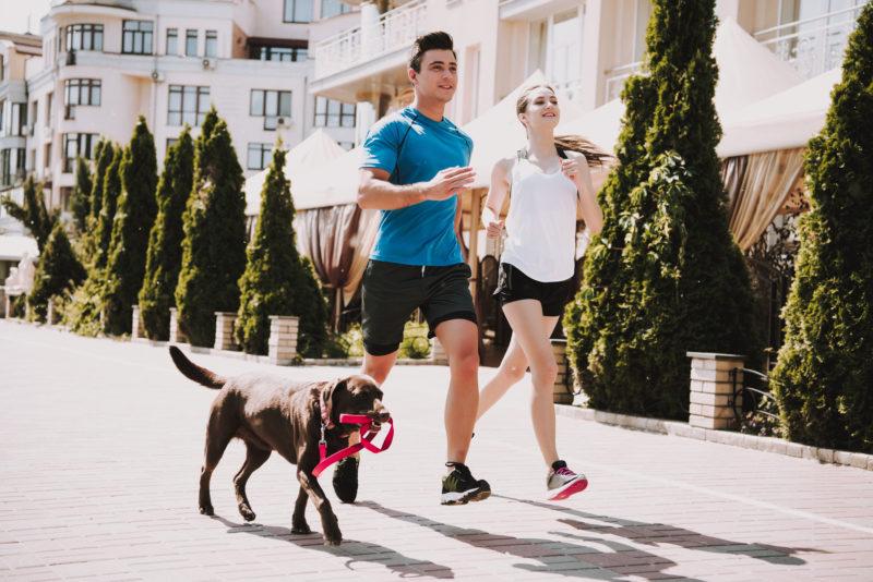 Pareja corriendo con perro
