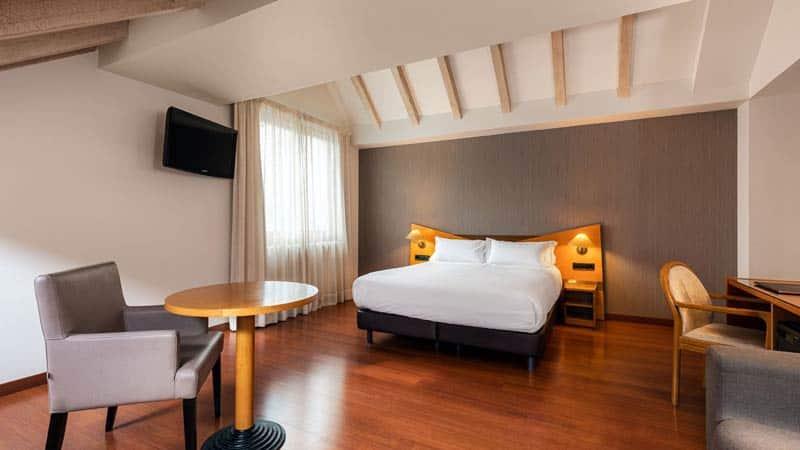Habitacion con cama de matrimonio y sofa cama